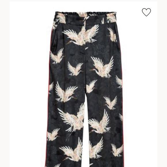 H&M Black Satin Heron Bird Wide Leg Trousers